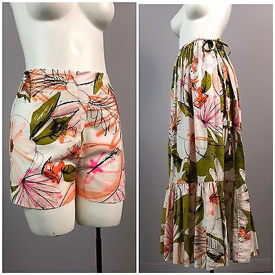 Vintage 60s Floral Short Shorts with Matching Skirt Wrap Beach Wear Set Maxi XS