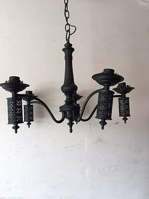 Antique Fancy Art Deco Cast Metal Chandelier Ceiling Light Fixture  PARTS