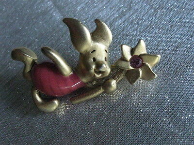 Gold Tone & Enameled Piglet Pin Holding Flower Stem W/ Rhinestone Signed Disney