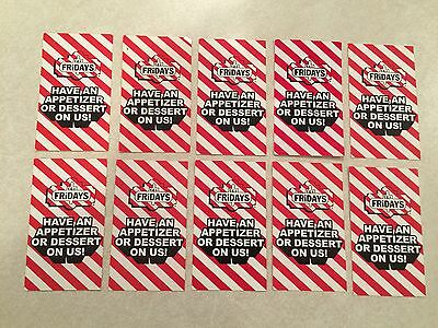 10 (TEN) TGI Fridays Coupon Cards For 1 Appetizer / Dessert $80 Value