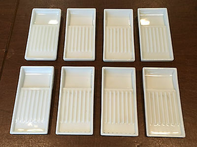 Lot of 8 AMERICAN CABINET CO Milk Glass Dental Trays Organizer Crafts Soap Dish