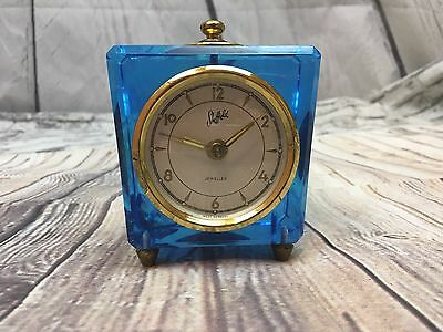 VINTAGE SHEFFIELD JEWELED GLASS BLOCK CLOCK WEST GERMANY BLUE TINT BRASS Feet