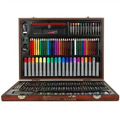 NEW Stylish 167 Pieces Kids Art Box Wooden Set for Colouring Painting Drawing