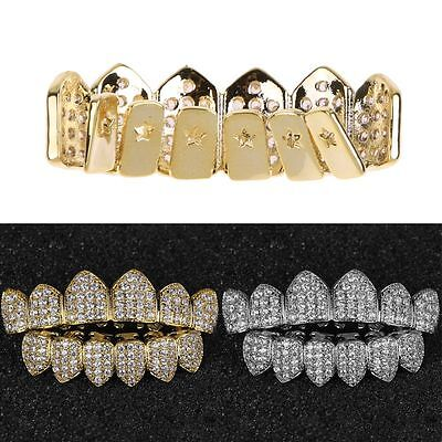 18K Gold/Silver Plated Top&Bottom GRILLZ Mouth Teeth Grills Set Bling Diamond