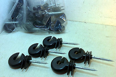 50 Screw in Wood Post Ring Insulators for Electric Fencing Poly Wire or Tape