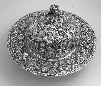 Repousse Covered Butter Dish Hennegen Bates 1900 Sterling Silver