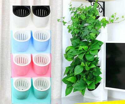 Indoor Plastic Planter Flower Pot Self-watering Wall Hanging Home Office Decor