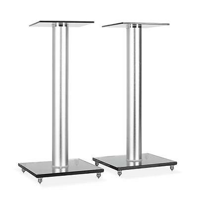 PAIR HI-FI SATELLITE SPEAKER STANDS 58cm GLASS NEW
