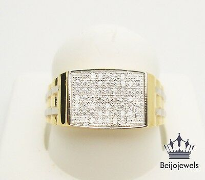 Mens 10K Yellow Gold Round Cut Clear Diamond Pinky Engagement Wedding Band Ring