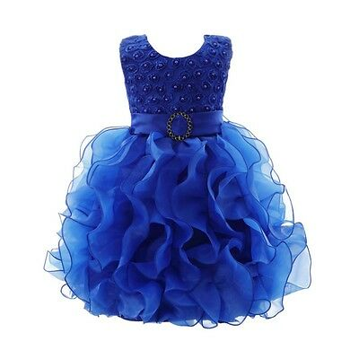 Baby Toddler Girl Dress Flower Lace Princess Wedding Party Pageant TUTU Dress US