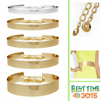 Gold / Silver Women Full Metal Waist Plate Chains Waistband Metallic Belt Bhbk