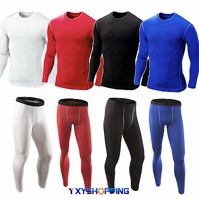 Mens Compression Under Shirt Armour Base Layer Jersey Top Pants Joggers Trousers