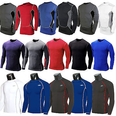 Men's Compression Under Base Layer Armour Long Sleeve Fitness Sports Jersey Tops