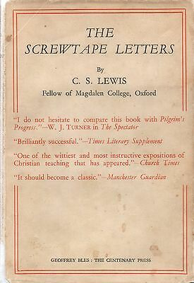 SIGNED: C.S. Lewis The Screwtape Letters 1943 Rare with DW