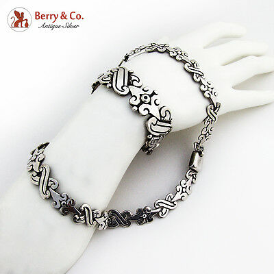 Hector Aguilar Bracelet Necklace Set Sterling Silver 1950 Mexico