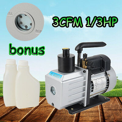 New 3CFM 1/3HP Rotary 2 Stages Vacuum Pump Refrigerant Gauges Tool Air Condition