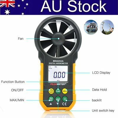 HOT! LCD Digital Anemometer Wind Speed Meter Air Flow Tester Backlight HYELEC AU