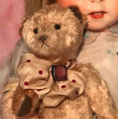 Vintage French Teddy Bear hand made  small size For Antique Doll doll not includ
