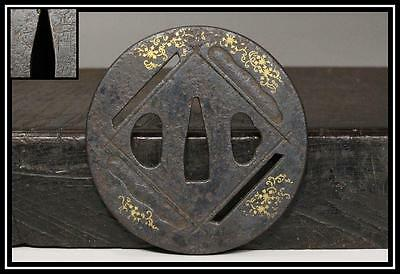 JAPANESE gold Inlay Iron SHOAMI MASATOKU Antique TSUBA