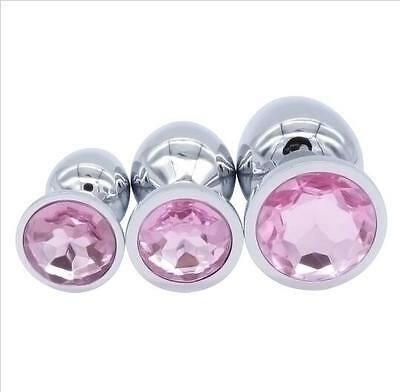 Butt Toy Plug Anal Insert Stainless Steel Metal Plated Jeweled Sexy Stopper Pink
