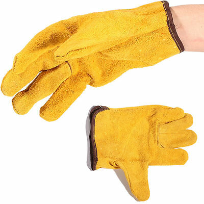 Pair Yellow Short Gloves Leather Hand Glove for Welding Smelting Work Protection