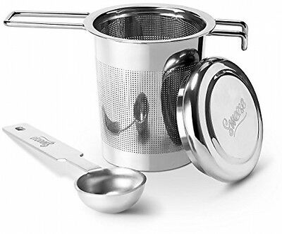 Tea Infuser Stainless Steel Strainer - With Lid And Double Handles Perfect For