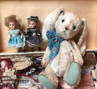 Vintage French rabbit toy hand made  small size For Antique Doll doll not includ