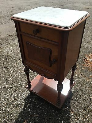 French Mahogany Marble Top Bedside Cabinet