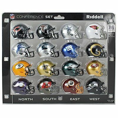 Riddell NFL NFC Conference Mini Replica Speed Pocket Helmet Set -16 Pieces - 5cm