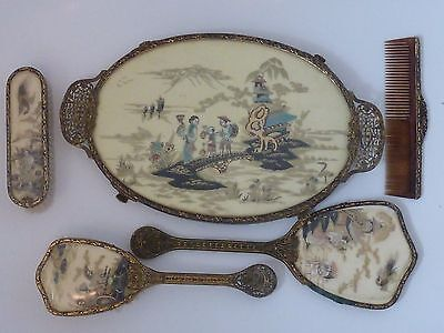 Vintage 5 Piece Vanity Dressing Table Set.Ornate,Oriental Japanese Scene  .