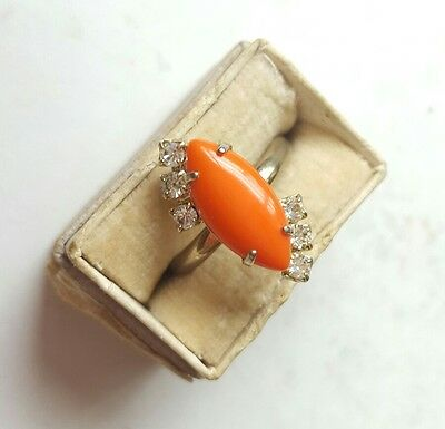 Vintage 1960s RETRO Adjustable Ring Rhinestones and Glass