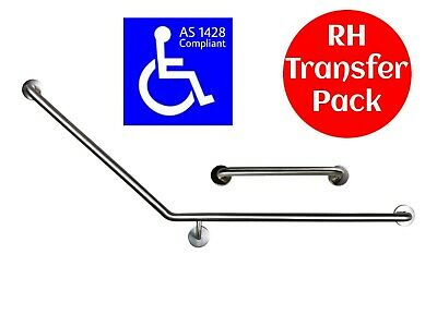 40 DEGREE SAFETY RAIL RIGHT SIDE TRANSFER AS1428 GRAB BAR DISABLED TOILET 450mm