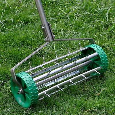 Heavy Duty Rolling Grass Lawn Aerator Roller Garden 3pc Steel Handle UK USED