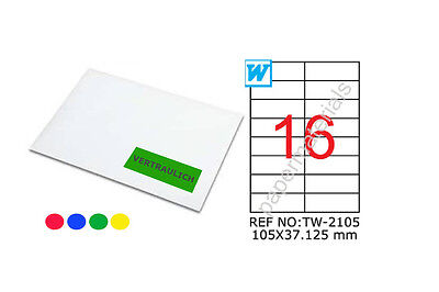 TANEX TW-2105 Marking labels multicoloured 105x37,125 sharp corners 25 Bl. A4