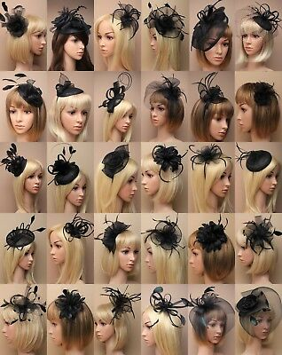 Black Fascinator Wedding Races Prom Ascot Occasion Choose Design Headpiece Lot