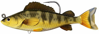 """LIVETARGET Yellow Perch Swimbait 4.5"""" GOLD OLIVE, Murray Cod Yellowbelly Barra"""