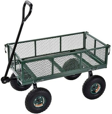 Utility Cart Heavy Duty Dump Trailer Wheelbarrow Wagon Yard Garden Lawn Steel