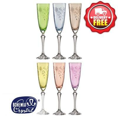 Bohemia Crystal Floral Champagne Flute Colourful Glasses 350ml | Set of 6pcs