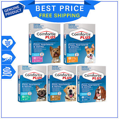 COMFORTIS PLUS for Dogs 6 Chews All Sizes Flea Heartworm Worm treatment