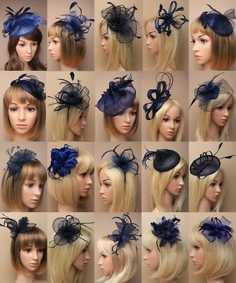 Navy Fascinator Wedding Races Ascot, Occasion Fashion Midnight Blue Aliceband