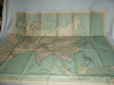 Vintage 1933 National Geographic map of Asia large poster size 38x31 prewar