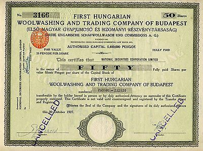 First Hungarian Woolwashing And Trading Company Of Budapest 1927