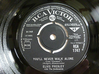 "Elvis Presley ~ You'll Never Walk Alone ~ Rca 1747 ~ Ex/gen ~ 1968 Uk 7"" Vinyl"