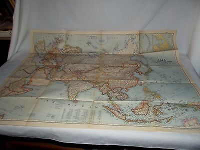 1951 National Geographic map of Asia and Adjacent Areas 37x29 large poster size