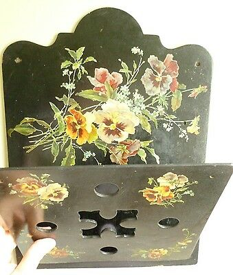 Victorian Paper Mache Antique Wall Mail Pocket Pansies Cut Out Design on Front
