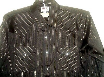 MF4 ELY CATTLEMAN gold-striped black western square dance shirt. Size L-16.5, 34