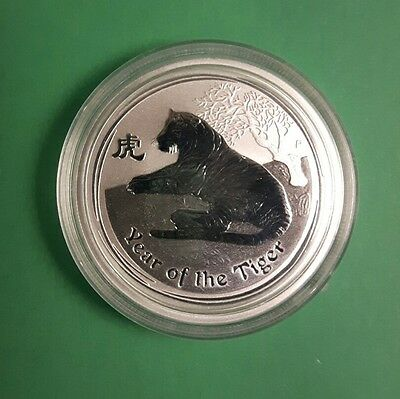 2010-AUSTRALIAN-LUNAR-II- 1/2 oz -SILVER-COIN-YEAR-OF-THE-TIGER-.  50c