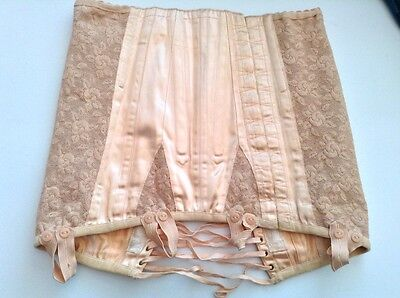 Rare quality vintage peach nude hook and eye laced girdle with suspender loops