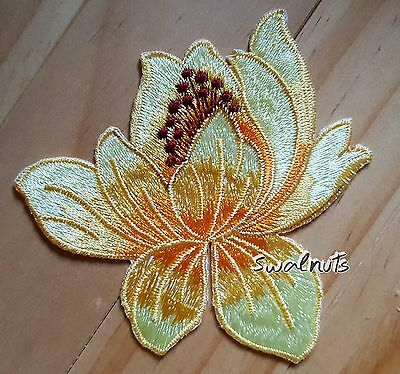 YELLOW Orange Iron on Lotus flower Embroidered Patch Applique Motif Badge