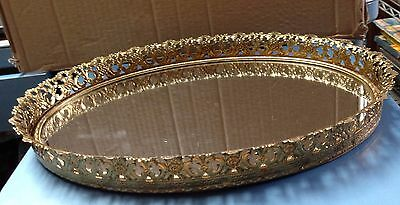 Gold Toned Vanity Dresser Perfume Tray Oval Mirrored Filigree Edge 13 1/2x9 3/4""